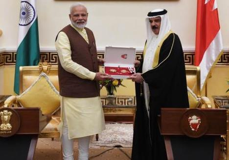 HM King Hamad Bin Isa AlKhalifa bestowed The King Hamad Order of the Renaissance- First Class on Honble PM on 24 August 2019 in recognition of his efforts to strengthen bilateral relations with Bahrain.