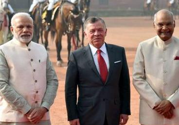 Hon'ble Rashtrapatiji and Hon'ble PM Shri Narendra Modi receiving His Majesty King Abdullah II of the Hashemite Kingdom of Jordan at the Ceremonial Reception at Rashtrapati Bhawan, New Delhi, on 01 March 2018