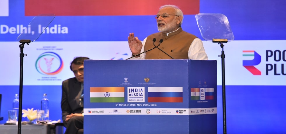 Prime Minister delivers his address during India-Russia Business Summit in New Delhi