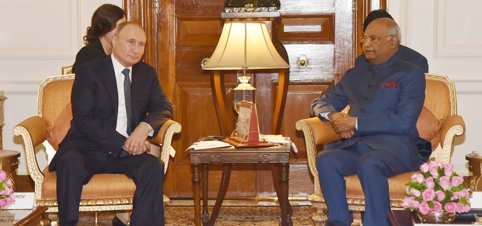 President meets Vladimir Putin, President of Russia at Rashtrapati Bhawan in New Delhi