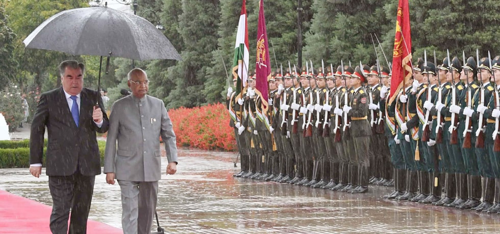 President inspects Guard of Honour during his Ceremonial Welcome at Palace of Nation in Dushanbe