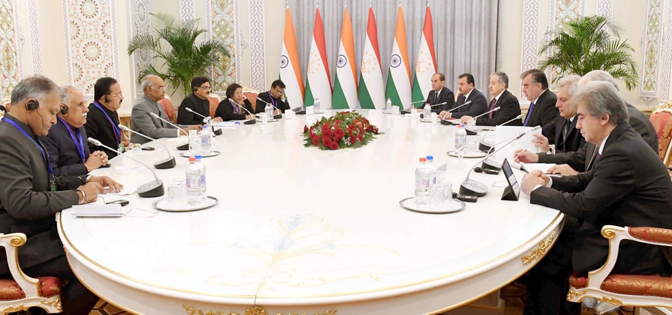 President and Emomali Rahmon, President of Tajikistan hold delegation level talks at Palace of Nation in Dushanbe