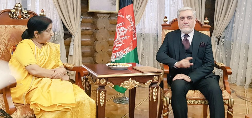 External Affairs Minister meets Dr. Abdullah, Chief Executive of Afghanistan on the sidelines of SCO meeting in Dushanbe