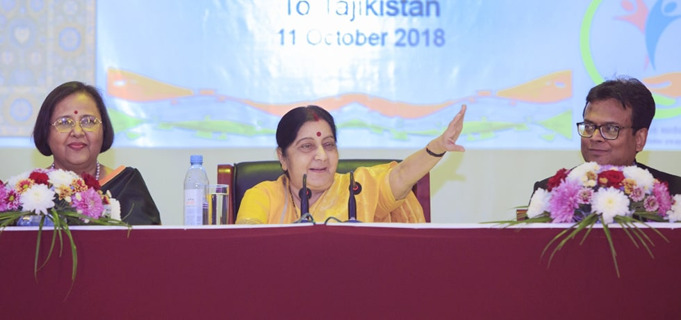 External Affairs Minister delivers her address at Indian Community Event in Dushanbe