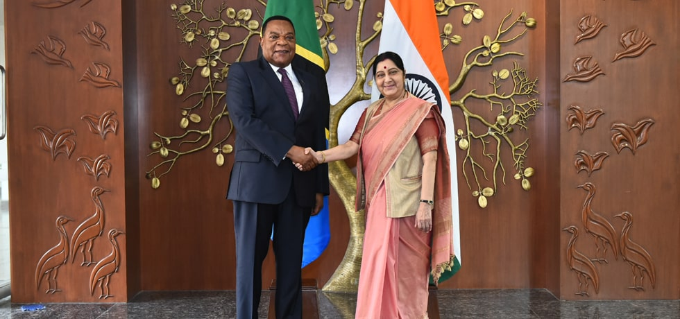 External Affairs Minister meets Augustine P. Mahiga, Minister for Foreign Affairs and East African Cooperation of Tanzania in New Delhi