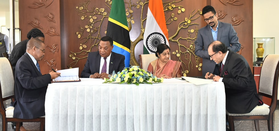External Affairs Minister witness Signing of Agreements between India and Tanzania in New Delhi