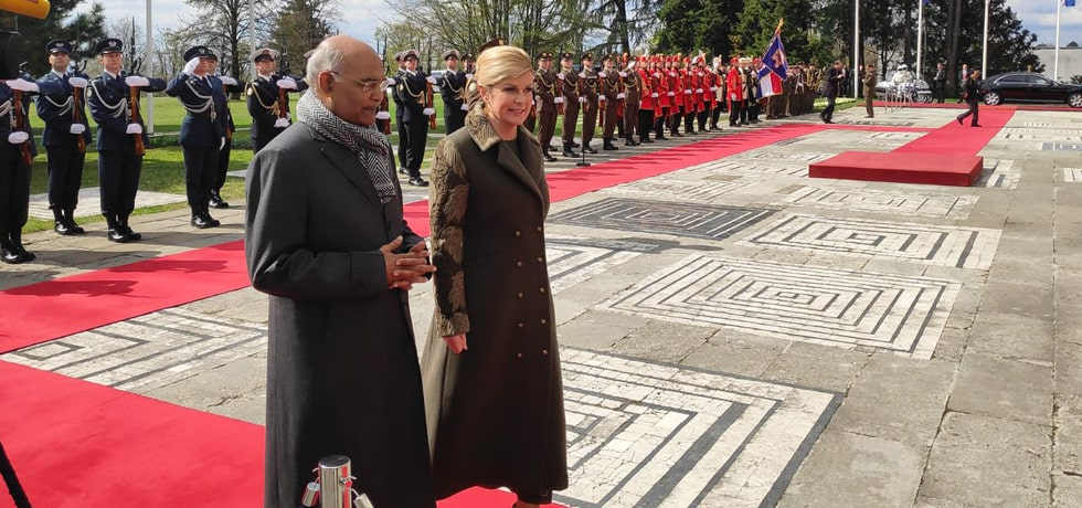 President inspects Guard of Honour in Zagreb during his State Visit to Croatia