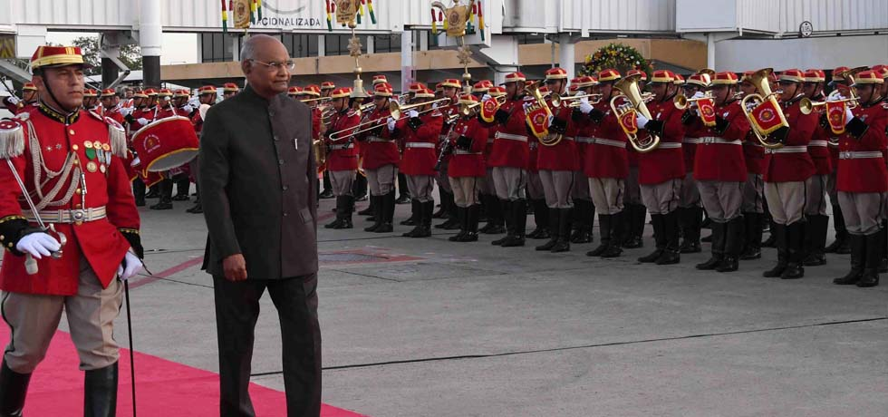 President inspects Guard of Honour during Ceremonial Welcome in Bolivia