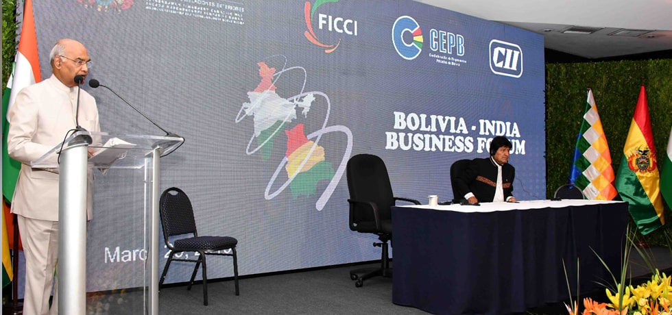 President delivers his address at India-Bolivia Business Forum in Chamber of Industries, Commerce, Services and Tourism (CAINCO), Bolivia