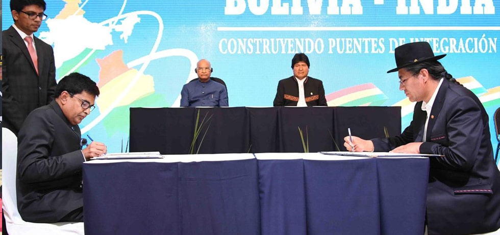 President and Evo Morales, President of Bolivia witness Signing of Agreements in Bolivia