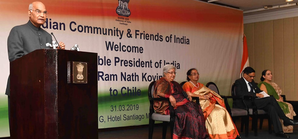 President addresses Indian Community in Santiago during his State Visit to Chile