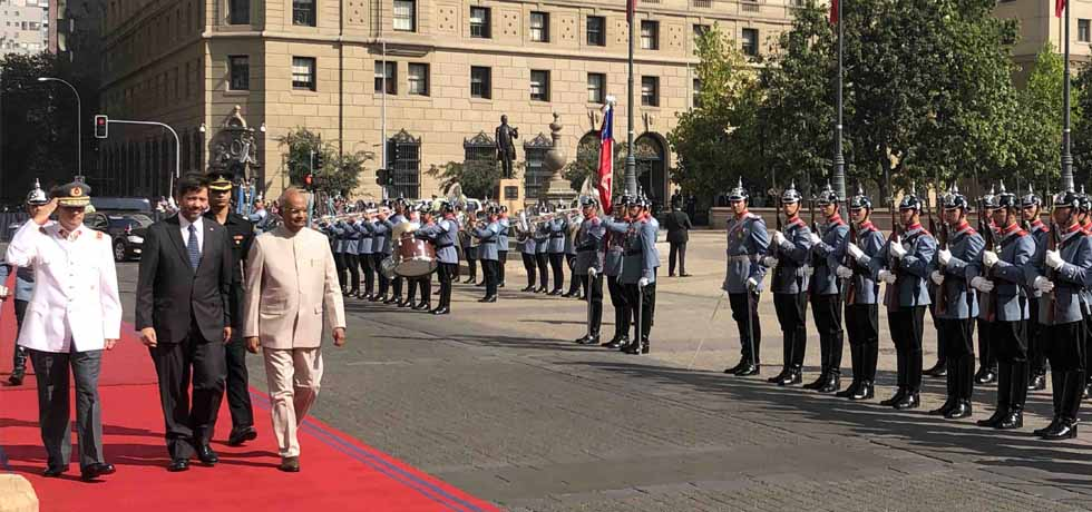 President inspects Guard of Honour during Ceremonial Reception at La Moneda Palace in Santiago, Chile