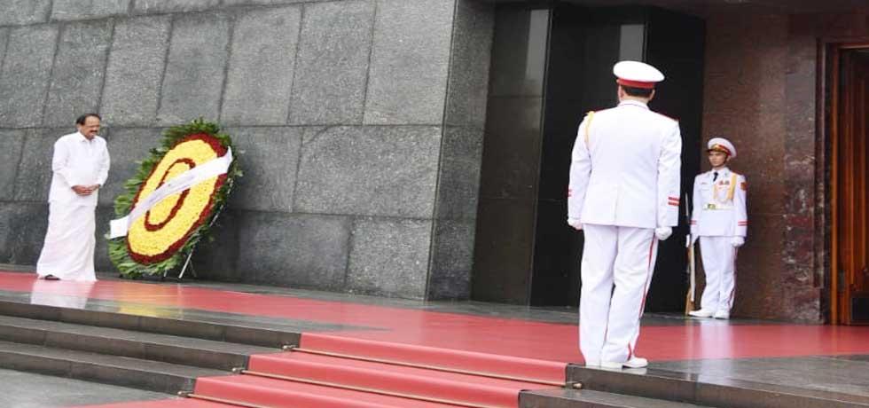 Vice President lays wreath at Ho Chi Minh Mausoleum in Hanoi during his visit to Vietnam