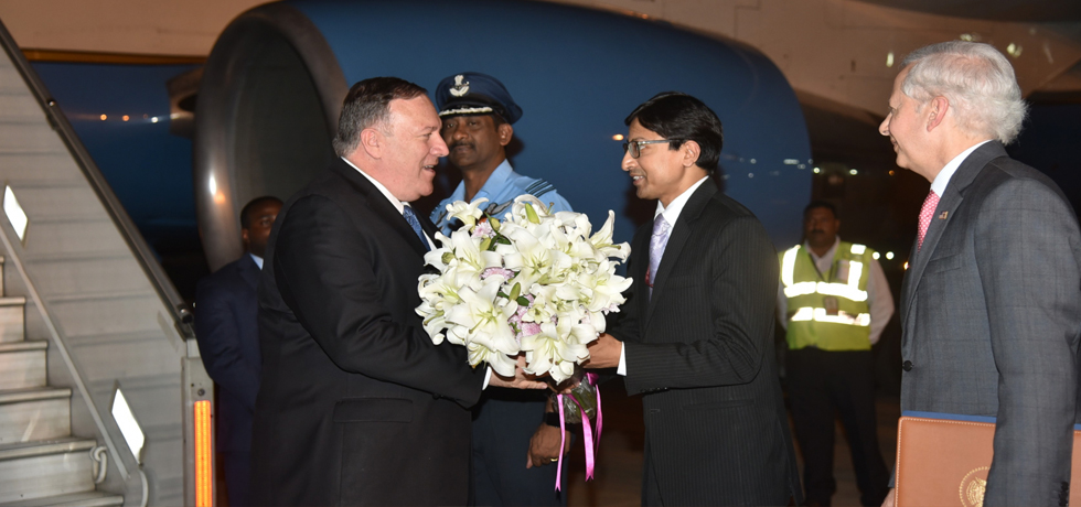 Michael R Pompeo, Secretary of State of the United States of America arrives in New Delhi