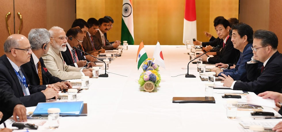 Prime Minister and Shinzo Abe, Prime Minister of Japan hold Delegation Level Talks in Osaka, Japan