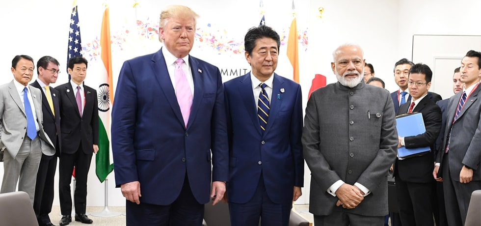 Japan-America-India trilateral meeting between Prime Minister, President of United States Donald Trump and Prime Minister of Japan Shinzo Abe on the sidelines of G20 Summit 2019 in Osaka, Japan