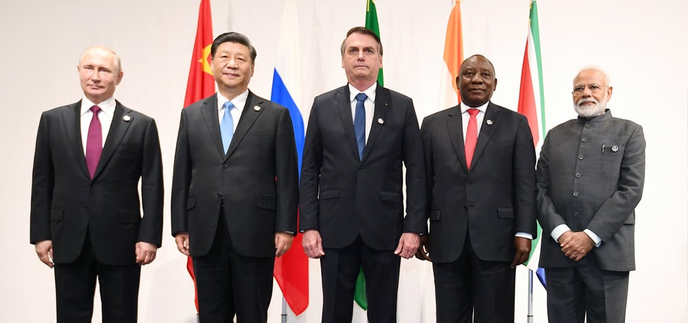 Group Photo of Leaders of BRICS member nations on the sidelines of G20 Summit 2019 in Osaka, Japan