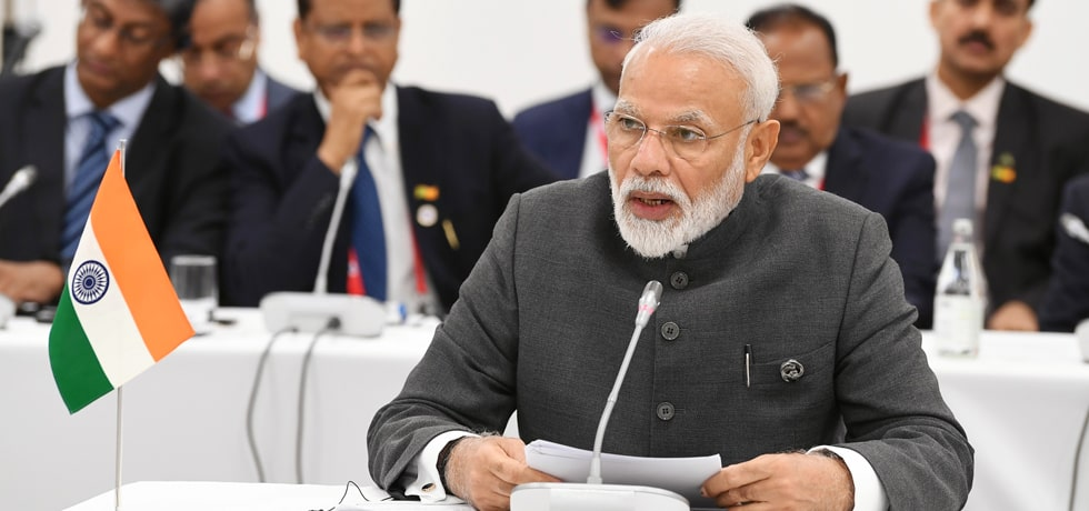 Prime Minister makes an intervention during Informal BRICS Leaders' Meeting on the sidelines of G20 Summit 2019 in Osaka, Japan