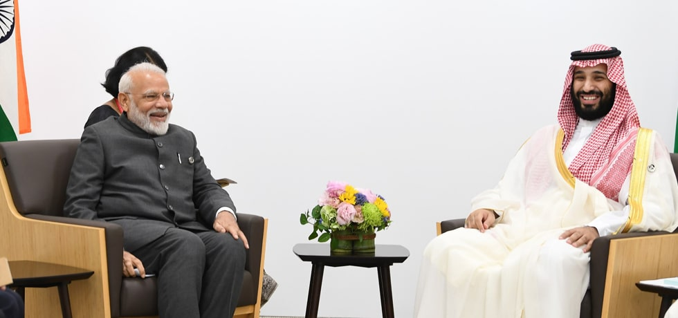 Prime Minister meets Mohammed Bin Salman Al Saud, Crown Prince of Saudi Arabia on the sidelines of G20 Summit 2019 in Osaka, Japan
