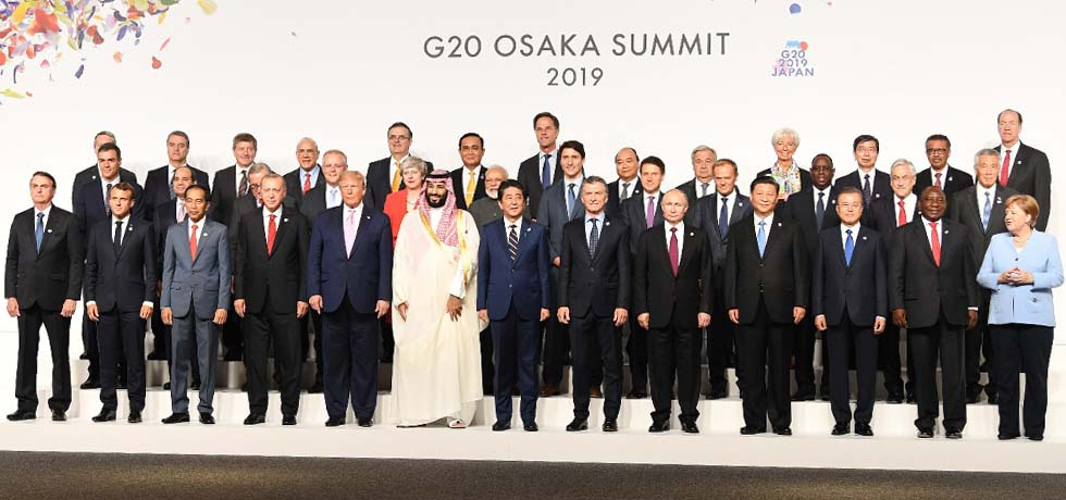 Group Photo of Leaders of G20 Summit 2019 Member States in Osaka, Japan