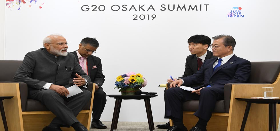 Prime Minister meets Moon Jae-in, President of Republic of Korea on the sidelines of G20 Summit 2019 in Osaka, Japan