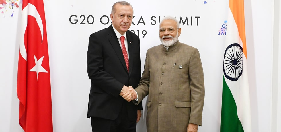 Prime Minister meets Recep Tayyip Erdogan, President of Turkey on the sidelines of G20 Summit 2019 in Osaka, Japan