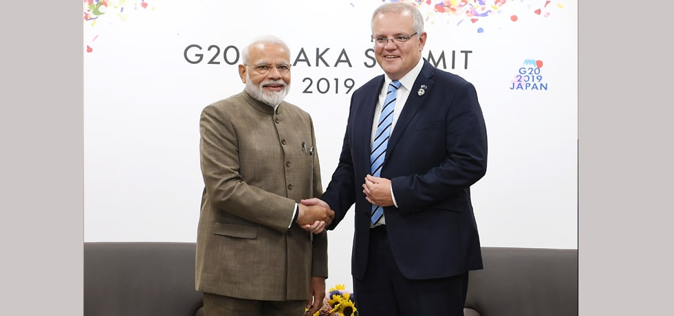 Prime Minister meets Scott Morrison, Prime Minister of Australia on the margins of G20 Summit in Osaka, Japan