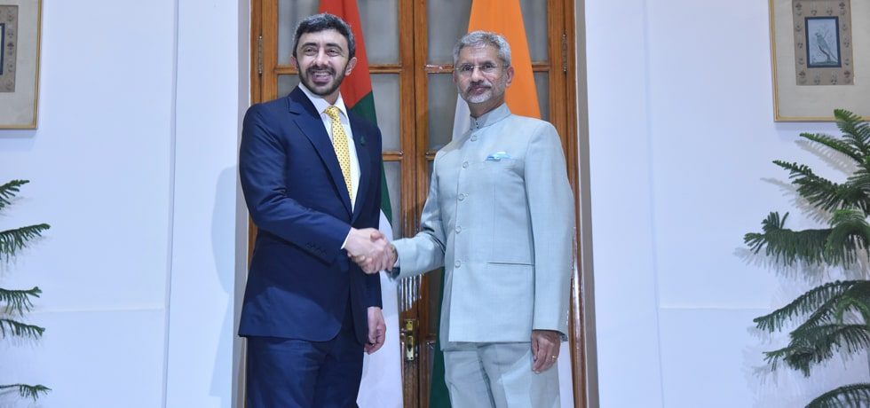 External Affairs Minister meets Sheikh Abdullah Bin Zayed Al Nahyan, Minister of Foreign Affairs and International Cooperation of UAE in New Delhi