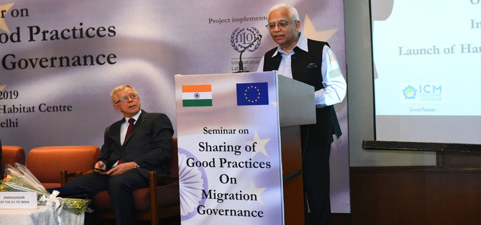 Secretary (CPV and OIA) delivers his address at the inauguration of India-EU Seminar on 'Sharing of Good Practices on Migration Governance' in New Delhi