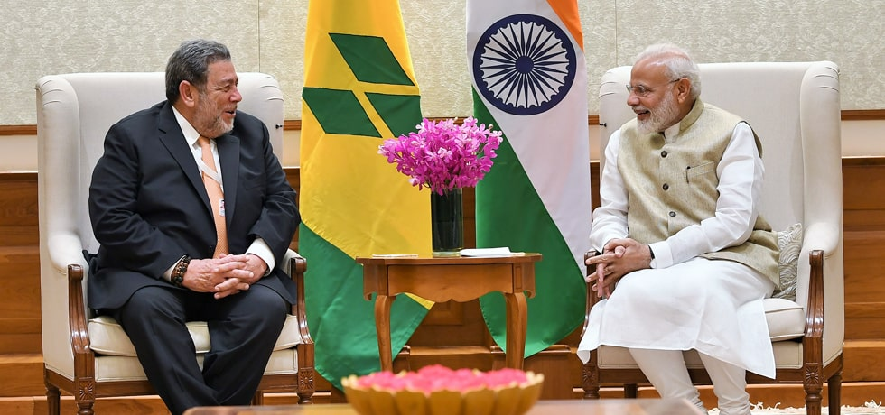 Prime Minister meets Ralph Gonsalves. Prime Minister of St. Vincent and the Grenadines in New Delhi