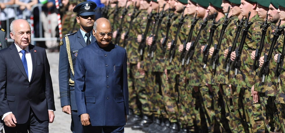 President inspects the Guard of Honour during his Ceremonial Reception in Munsterplatz, Switzerland