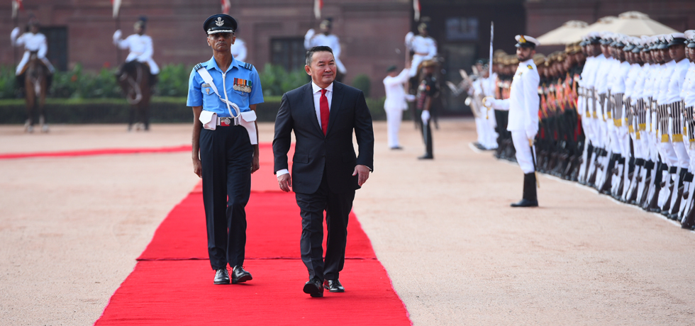 Khaltmaagiin Battulga, President of Mongolia inspects Guard of Honour during Ceremonial Welcome at Rashtrapati Bhawan, New Delhi