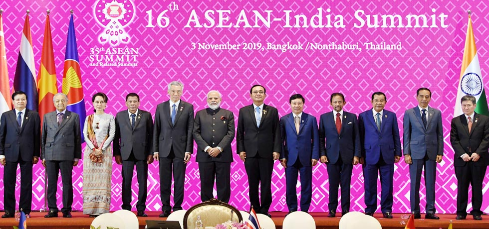 Group photo of Heads of State / Heads of Government at 16th India-ASEAN Summit in Bangkok