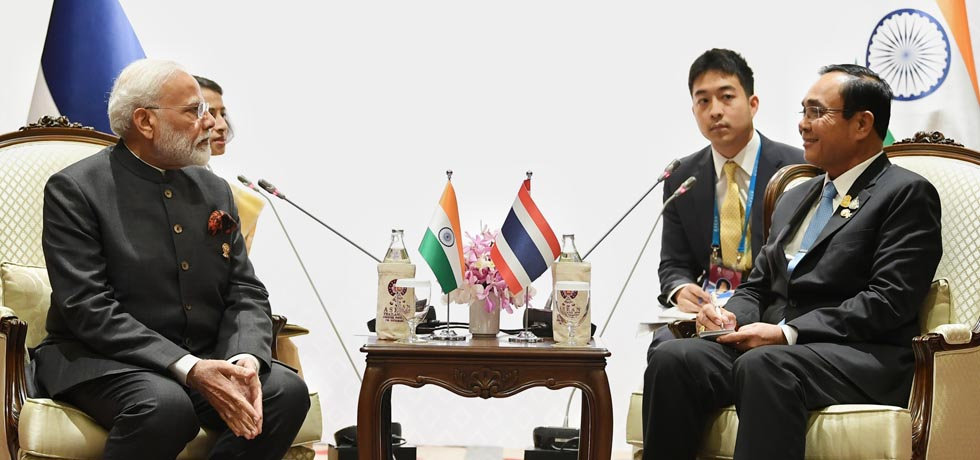 Prime Minister meets Prayut Chan-o-Cha, Prime Minister of Thailand on the sidelines of 16th India-ASEAN Summit in Bangkok