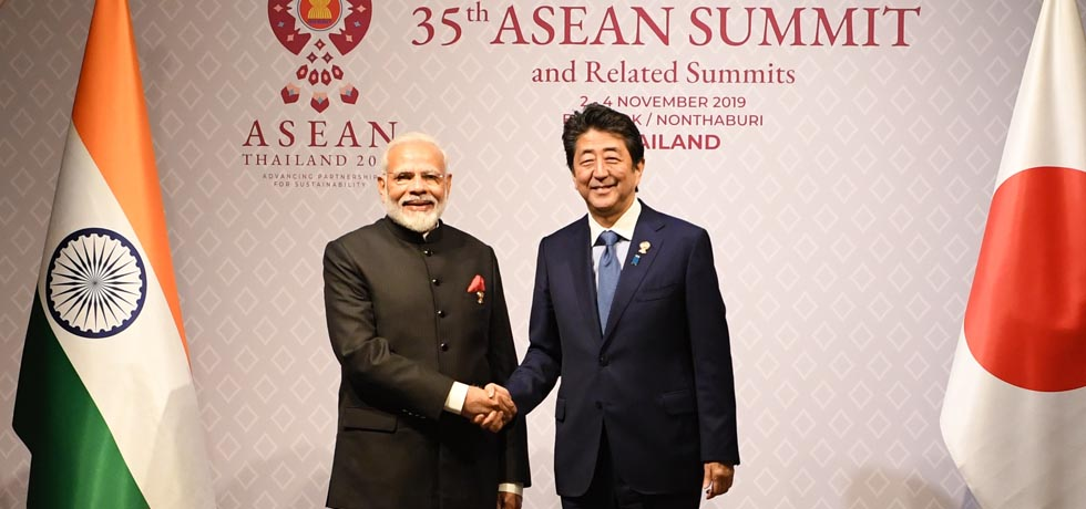 Prime Minister meets Shinzo Abe, Prime Minister of Japan on the sidelines of 35th ASEAN Summit 2019 in Bangkok