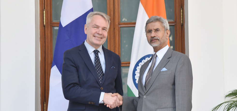 External Affairs Minister meets Pekka Haavisto, Foreign Minister of Finland at Hyderabad House, New Delhi