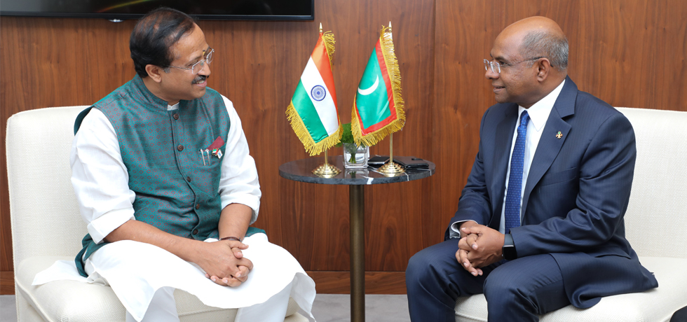 Minister of State for External Affairs meets Abdulla Shahid, Foreign Minister of Maldives on the sidelines of IORA in Abu Dhabi