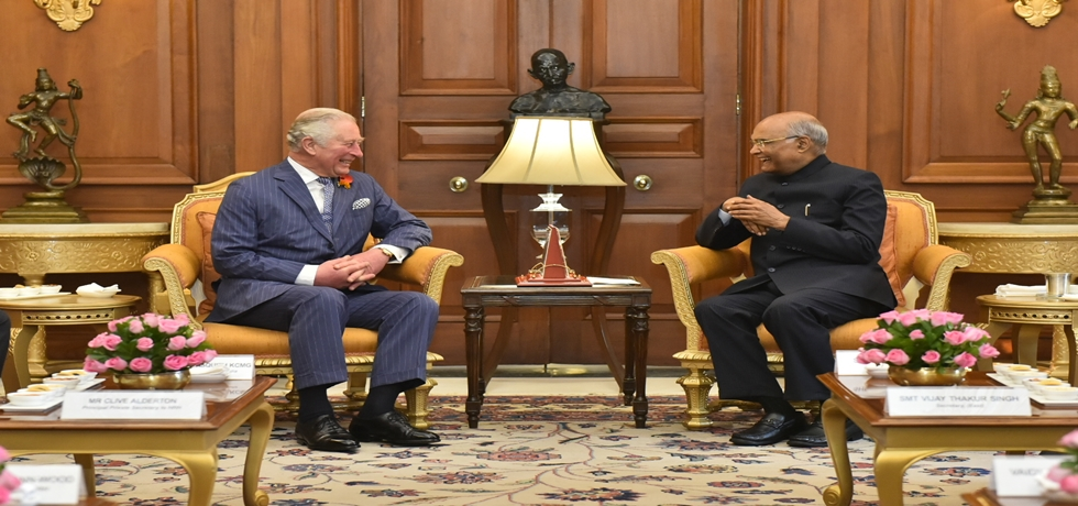 President meets Charles Philip Arthur George, Prince of Wales at Rashtrapati Bhawan, New Delhi