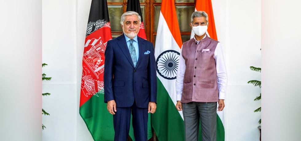 External Affairs Minister meets Dr. Abdullah Abdullah, Chairman of the High Council for National Reconciliation of Afghanistan at Hyderabad House, New Delhi