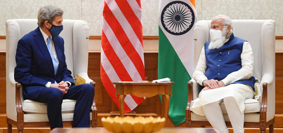 US Special Presidential Envoy for Climate John Kerry calls on Prime Minister in New Delhi