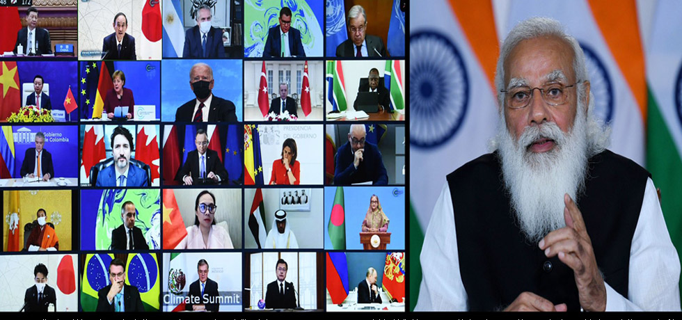 "Prime Minister virtually addresses the Leaders' Summit on Climate in the session on ""Our Collective Sprint to 2030"""